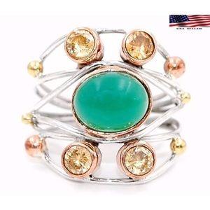 Jewelry - 🌴GREEN ONYX➕PADPARADSCHA SAPPHIRE RING 🌴